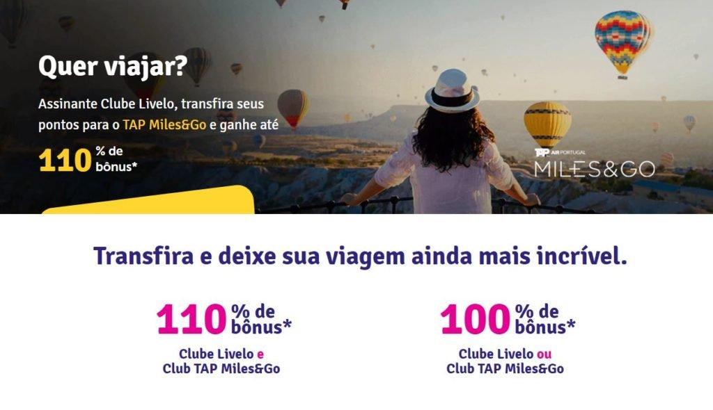 Prorrogado! Livelo e TAP oferecem bônus de até 110% para assinantes de seus clubes