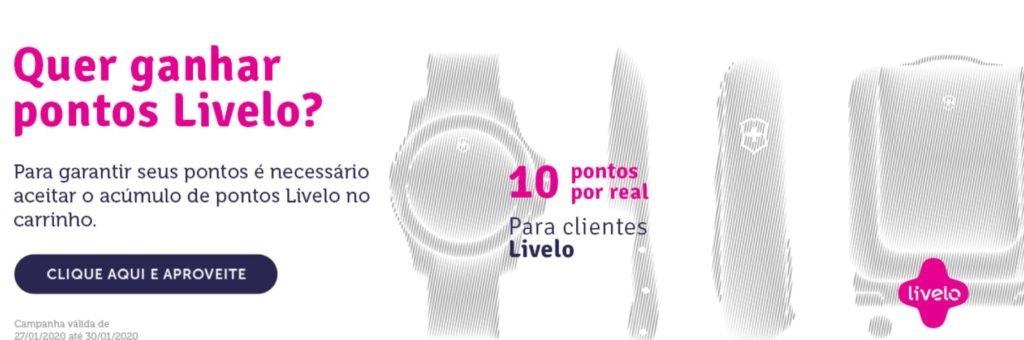 Livelo oferece 10 pontos por real gasto no site da Victorinox