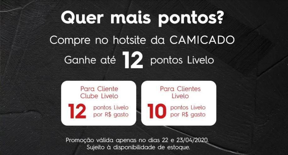 Livelo oferece até 12 pontos por real gasto no site da Camicado