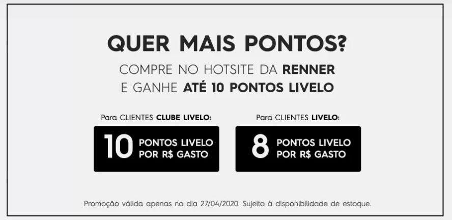 Livelo oferece até 10 pontos a cada real gasto na Renner
