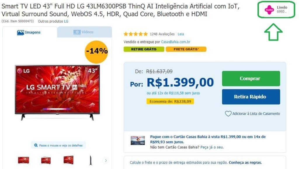 Livelo oferece 5 pontos por real gasto na Casas Bahia