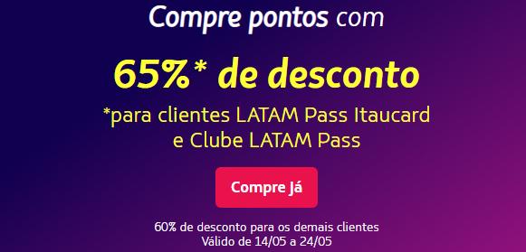 Prorrogado! Compre pontos Latam Pass com até 65% de desconto