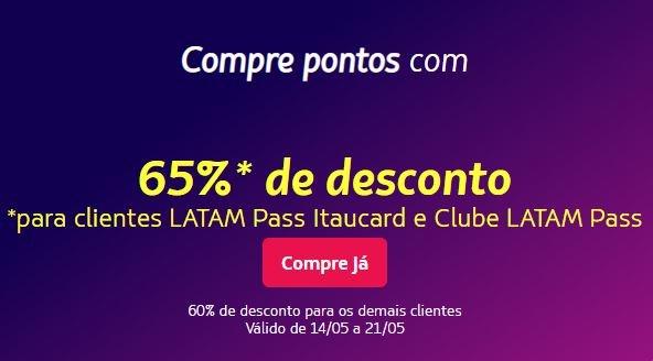 Latam Pass: Compre pontos com até 65% de desconto