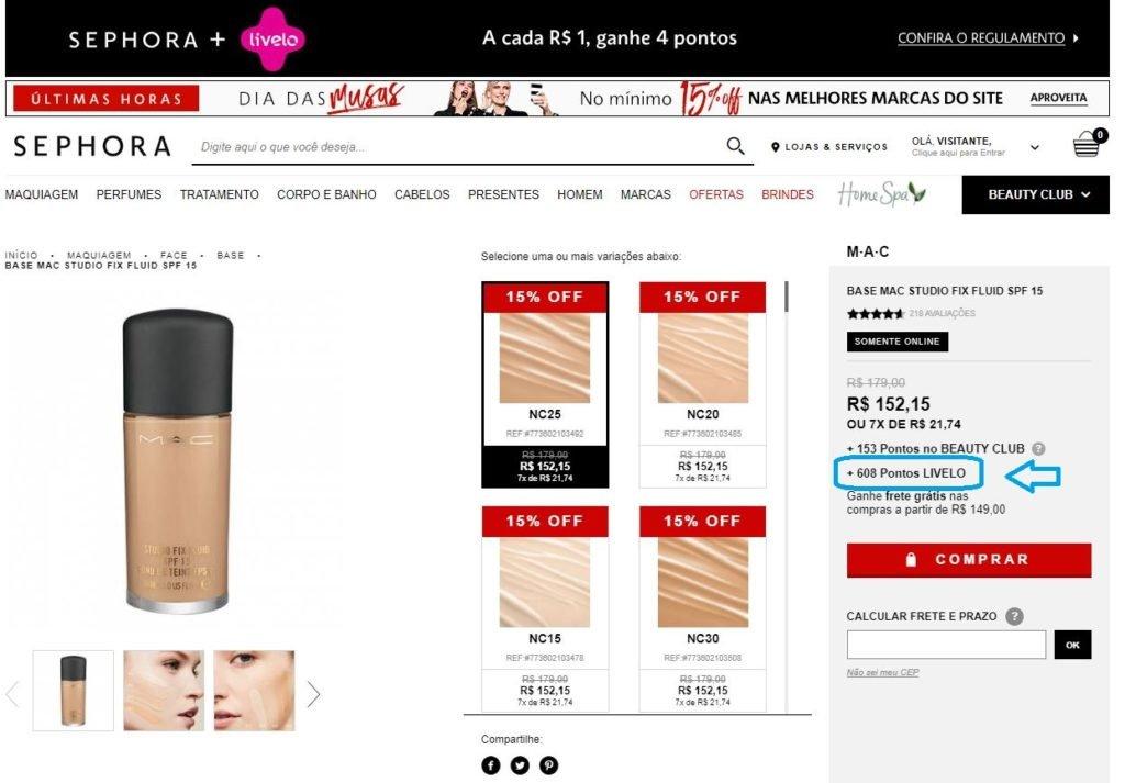 Livelo oferece 4 pontos por real gasto na Sephora